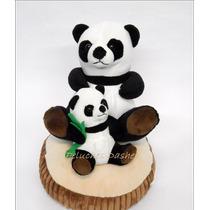 Oso Panda Peluche Con Cria Y Tronco 30cm