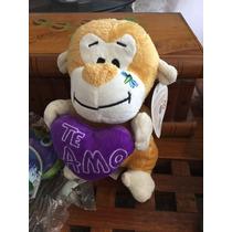 Peluche Mono Con Corazon Te Amo En Violeta