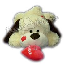 Perro De Peluche Acostado Con Corazon Te Amo Grande 65 Cm