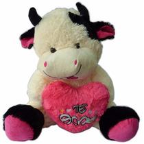 Vaca Peluche Con Corazon Rosa Te Amo
