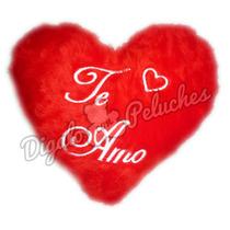 Almohadon Corazón De Peluche Bordado Mediano Personalizado