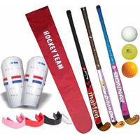 Kit Hockey Palo + Funda + Canilleras + Bocha + Bucal 30a37´´