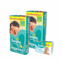 2 Hiperpack Pampers Confort Sec M + Toallitas Fresh Clean