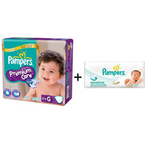 4 Pampers Premium Care Megapack + 2 Toallitas Sensitive