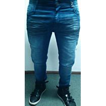 Pantalón De Jean Elastizado Chupin De Hombre - Talles Varios