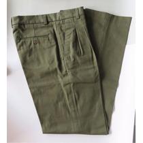 Pantalón Pinzado De Hombre De Gabardina Color Verde Talle 40