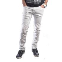 Pantalon Blanco Chupin Detalle Tiras Colores Y Boton Estampa