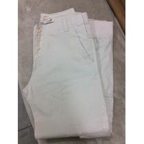 Pantalon Beige Marca Tascani Con Botones Y Botamanga Oferta
