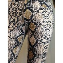 Pantalón Chupín Elastizado Estampado Reptil Tendencia Moda