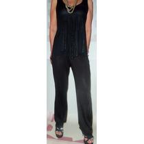 Pantalon Negro Palazzo Noche Dia Lycra Y Algodon Verano 2016