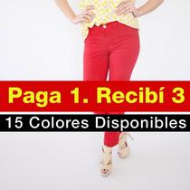 Pantalon Gabardina Mujer Elastizada Pack 3x1