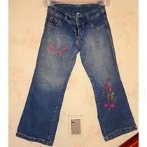 Pantalon De Jeans Talle 6 De Niña Con Flores Bordada
