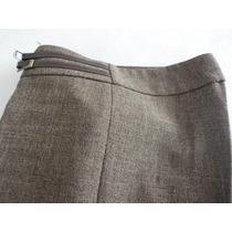 Pantalón 100%polyest Ted Bodin T. 38 Marrón C/detalles Cuero