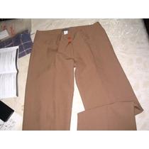 Pantalon Vestir Beige Zenova 42 Botamanga Tiro Medio Impeca