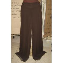 Pantalones De Gasa Marron Claudia Larreta