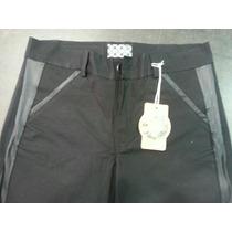 Pantalones Gabardina Combinados Con Cuerina T 44 Al 62 $ 550