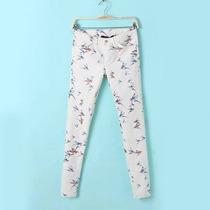 Pantalon Chupin Capri Elastizado Con Pajaritos, Importado