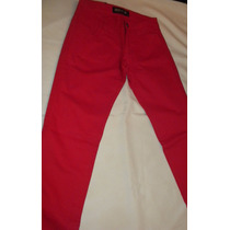 Pantalón Rojo De Gabardina Para Mujer