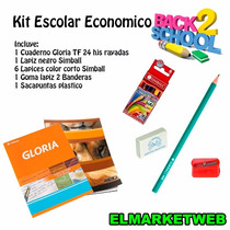 Kit / Set / Combo Escolar 5 Piezas Super Economico