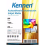 Papel Autoadhesivo Mate A4 Kennen 100grs 20 Hojas P/ Tintas