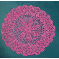 Aplique/carpeta/parche Redondo Fucsia Lana Crochet 23cm Diám