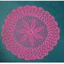 Aplique/carpeta/parche Redondo Fucsia Crochet 23cm (cb25)