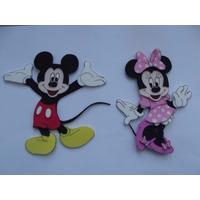 Apliques En Goma Eva Mickey Y Minnie X 10 U