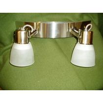 Aplique 2 Luces Acero Inox. Muy Moderno-apto Bajo Consumo