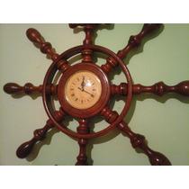 Reloj De Pared Tipo Timón Con Ancla De Algarrobo