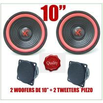 Combo 2 Woofers De 10 + 2 Tweeters Piezoelectricos Nuevos