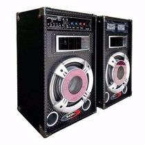 Par De Bafle Potenciado Usb Sd Mic Aux 8´´ Mp3 1600w Karaoke