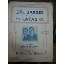 Partitura Para Piano. Del Barrio De Las Latas. Tango Cancion