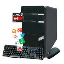 Pc Computadora Cpu Amd 4gb Ram Hd 500gb Dvd Gabinete Kit