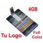 Memoria Usb 4 Gb Tipo Tarjeta Impresa Con Logo Full Color