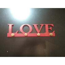 Perchero De Pared Calado Palabra Love Madera Mdf Pintado