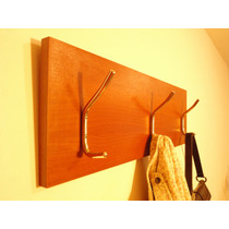 Perchero De Madera Para Pared Con Tres Colgantes Dobles