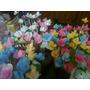 Varillas De Bambu Con Flores De Porcelana X 100