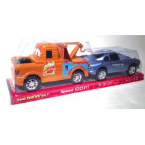 Dos Autos Cars A Friccion Mate Y Sally Grua Marron Y Auto