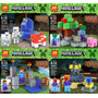 Minecraft Escenario X 4 Zombie,skeleton,steve,pumkin Oferta