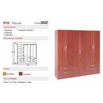 Placard Platinum 916 Ls1 6 Puertas De Abrir Roble