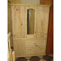 Ropero Con Puertas Corredizas Cajones Y Espejo