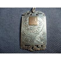 Llavero De Plata Y Oro Antiguo Cincelado Unico-sellado