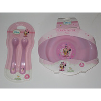Set Plato Y Cubiertos Bebé Mickey-minnie- Kitty-pooh-disney-