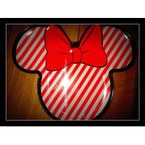 Plato Minnie Mouse Disney Deco Candy Bar Bebe Rayas Rojo
