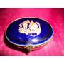 Caja Porcelana Limoges Castel Cobalto Oro Escena Galante F