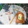 Lote Adornos Religiosos Virgen Cruz Madera Metal
