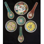 Lote X 7 Porcelanas Cantonesa Platos Cucharas Finger Foods