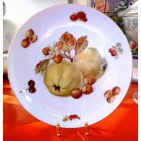 Antiguo Bello Plato Porcelana Alemana Seltman Weiden Frutos