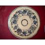 Plato Ceramica Esmaltada Terracota Decorado En Azul