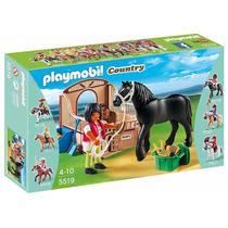 Educando Playmobil Corcel Negro Con Establo Y Jinete 5519